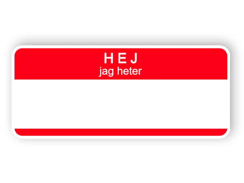 Hej jag heter - röd namnetikett