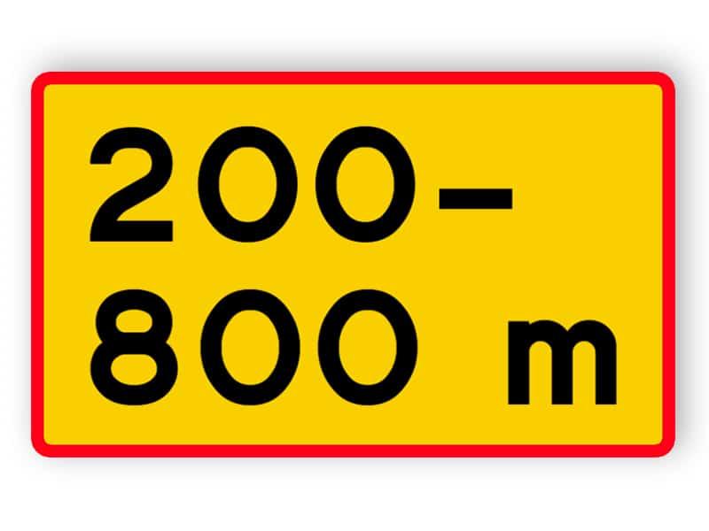 Avstånd - vägsträckans längd med början bortom märket