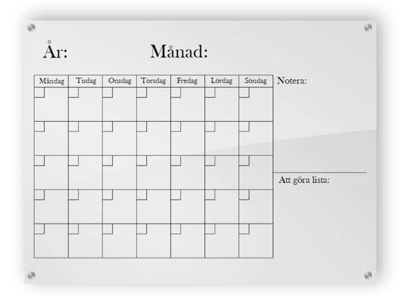 Horisontell kalender