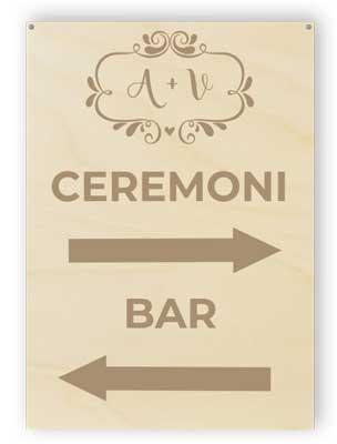 Riktning bröllop tecken