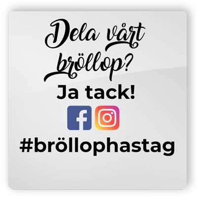 Hashtag-tavla, dela bröllopet på Instagram och Facebook