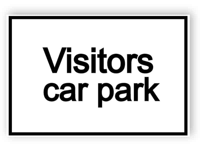 Besökare Parkering - vit skylt