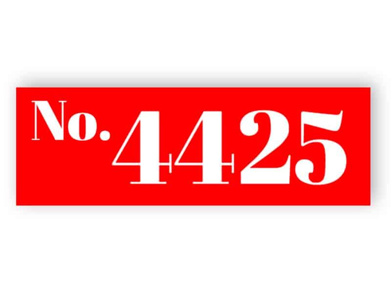Rött husnummer tecken