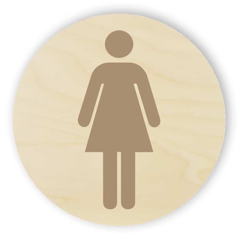 Trä toalett sign - kvinnor