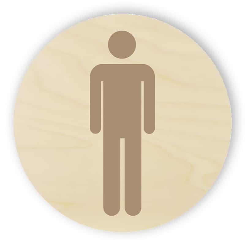 Trä toalett sign - män