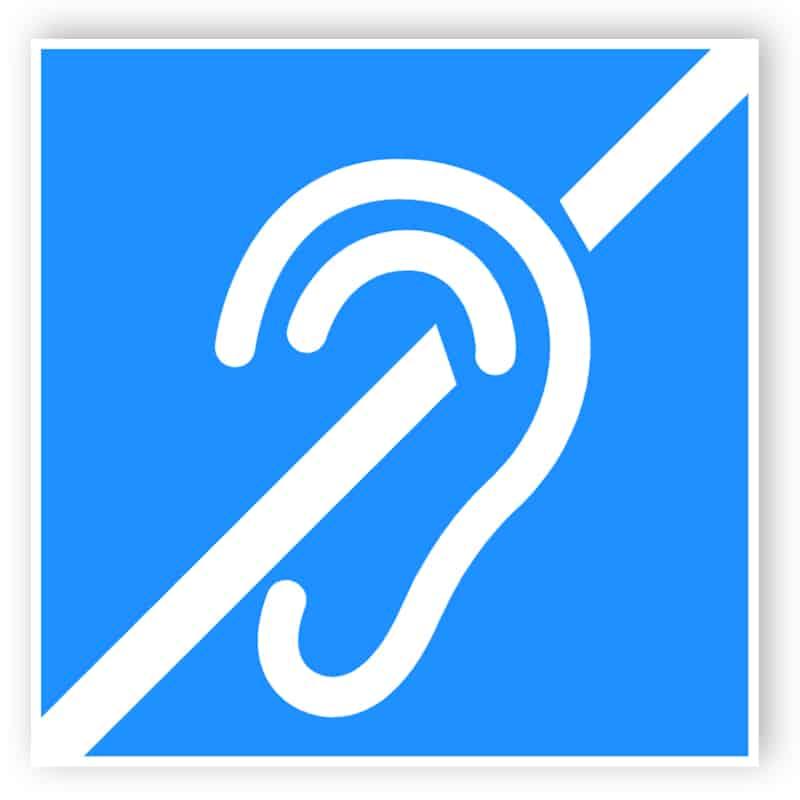 Hörselskadade sling självhäftande klistermärke