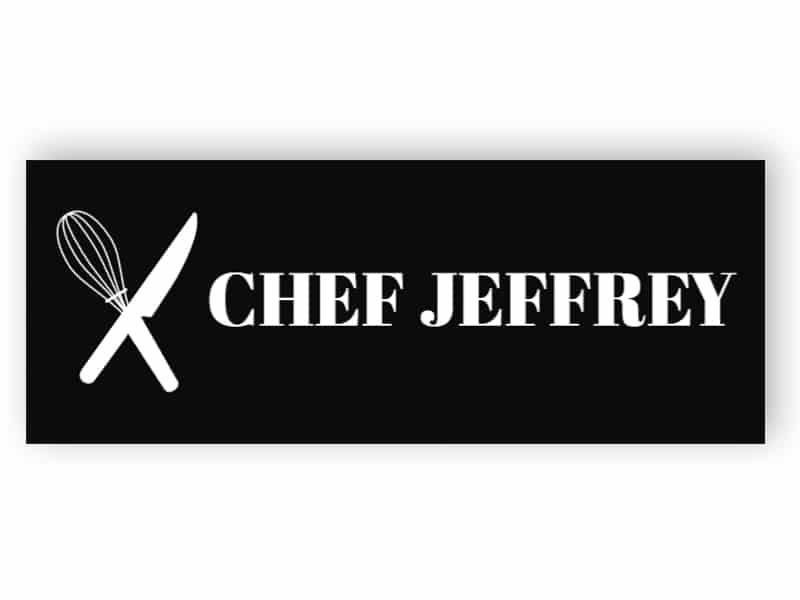 Svart namnmärke för kock